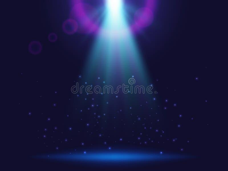 Magische glanzende achtergrond met lichten Blauwe lichtgevende stralen royalty-vrije illustratie