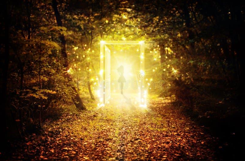 Magische gloeiende deur in het verrukte bos stock afbeelding