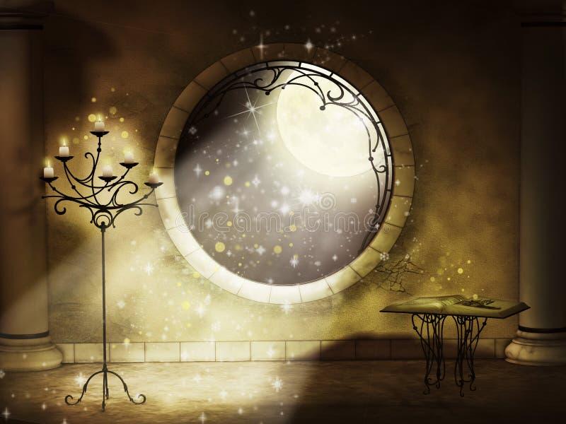 Magische gotische nacht stock illustratie