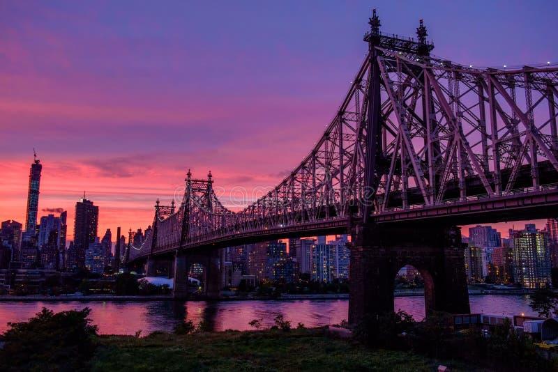 Magische hemel over Manhattan royalty-vrije stock foto