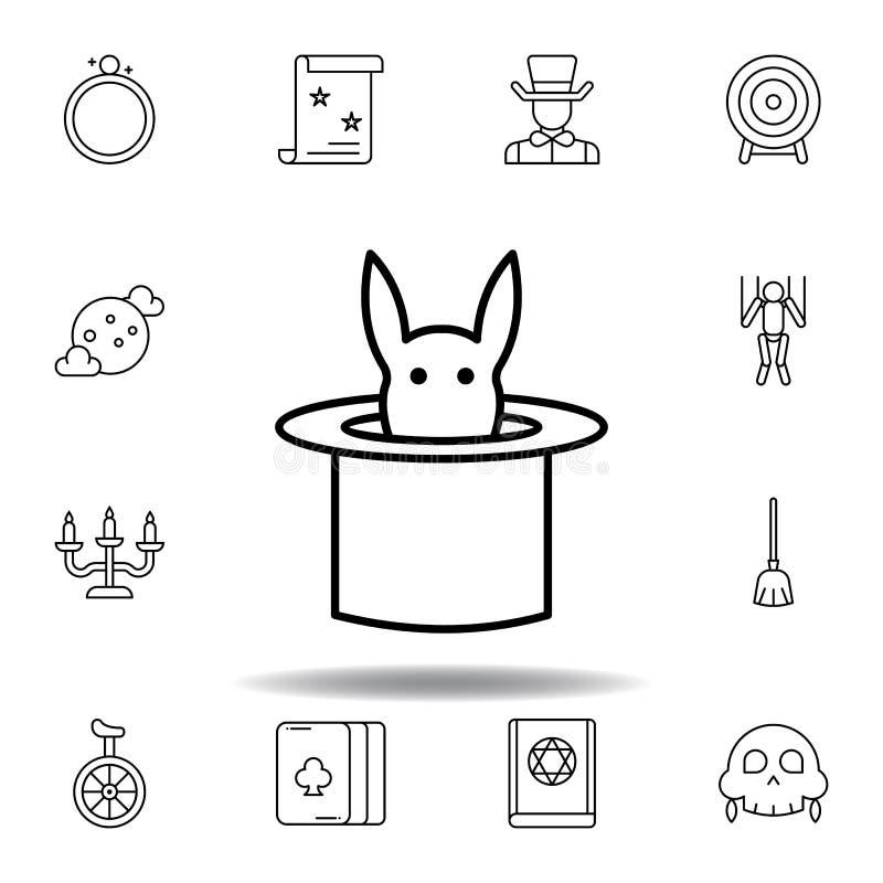 Magische hoed met dierlijk overzichtspictogram elementen van het magische pictogram van de illustratielijn de tekens, symbolen ku vector illustratie