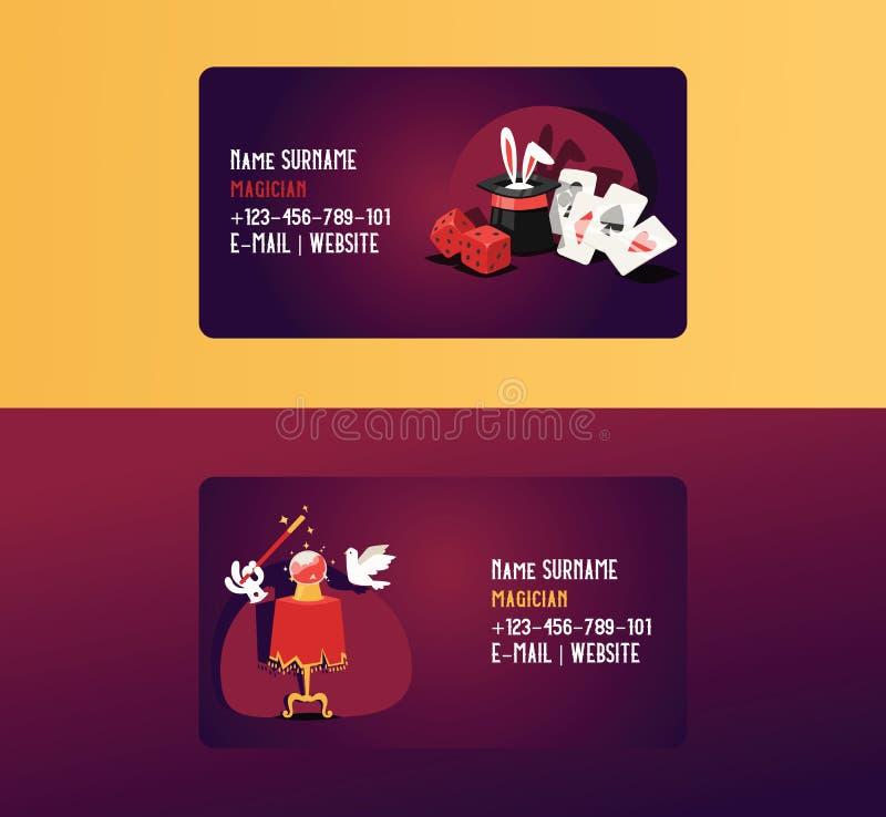 Magische Illusion der Magiervisitenkartevektorzauberkünstler-Show oder magischer Illusionism auf Visitenkartehintergrund und lizenzfreie abbildung