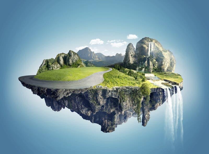 Magische Insel mit sich hin- und herbewegenden Inseln, Wasserfall und Feld lizenzfreies stockbild
