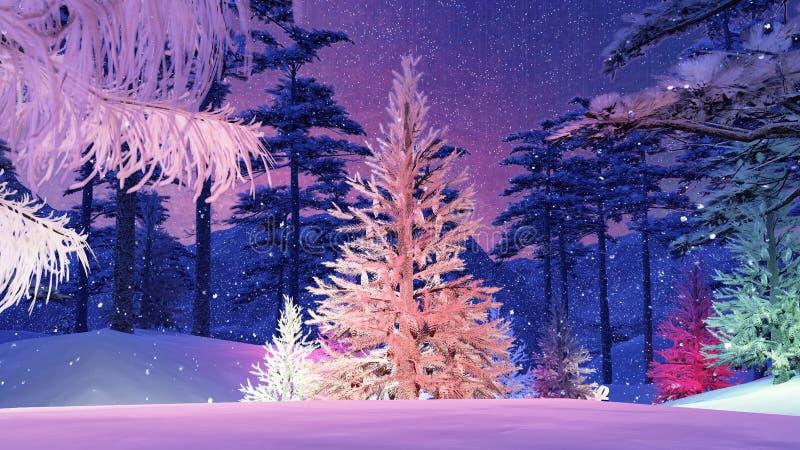 Magische Kerstboom met kleurrijke lichtenillustratie royalty-vrije illustratie