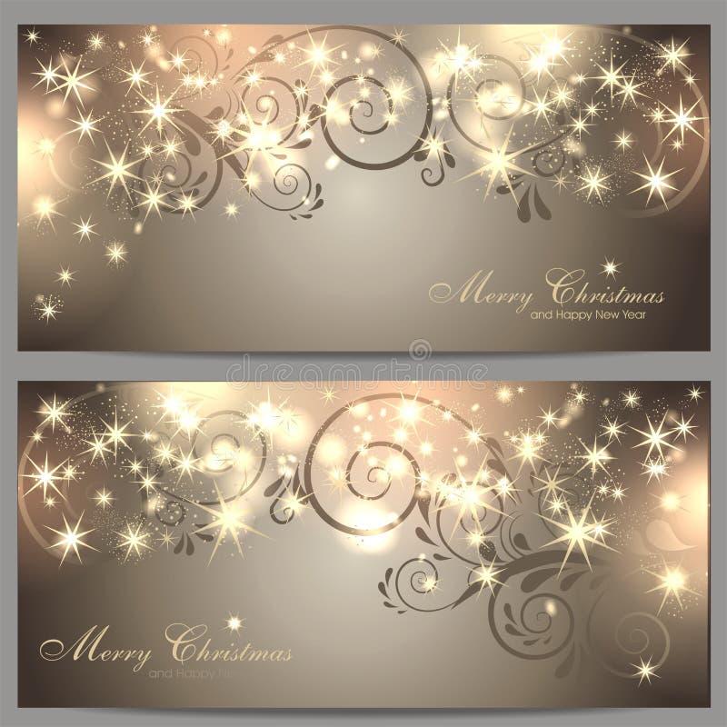 2 magische Kerstmiskaarten royalty-vrije illustratie