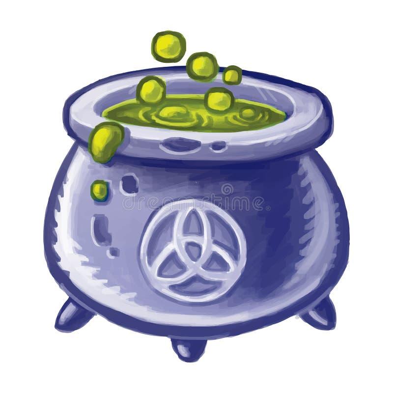 Magische ketel van kokende groene vloeistof wicca Heksendrankje Magisch brouw drankje voor Halloween stock illustratie