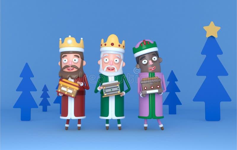 Magische Koning drie die zich op een blauwe scène met bomen bevinden Geïsoleerde 3D Illustratie vector illustratie