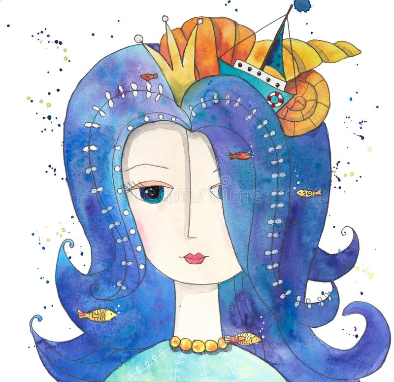 Magische Koningin van Overzees met vissen, boot, zeeschelpen royalty-vrije illustratie