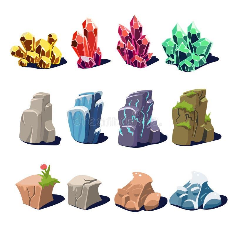 Magische Kristalle und Felsen-Beschaffenheiten lizenzfreie abbildung