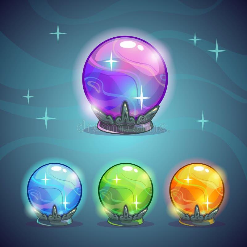 Magische kristallen bollen vector illustratie