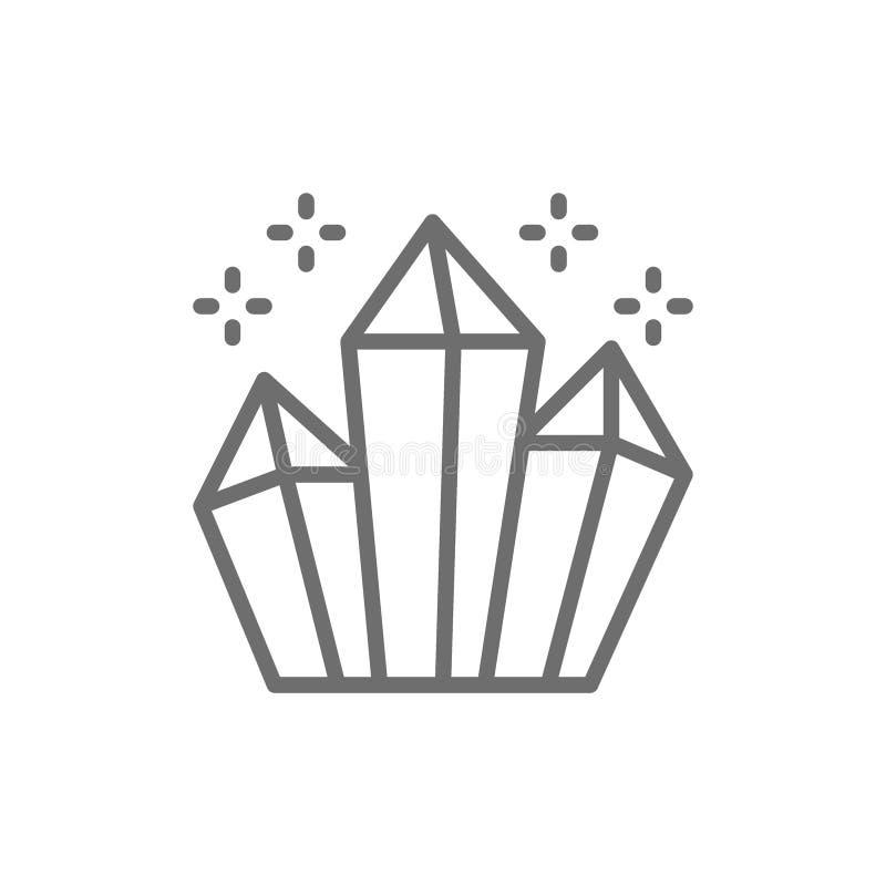 Magische kristallen, het pictogram van de diamantenlijn vector illustratie