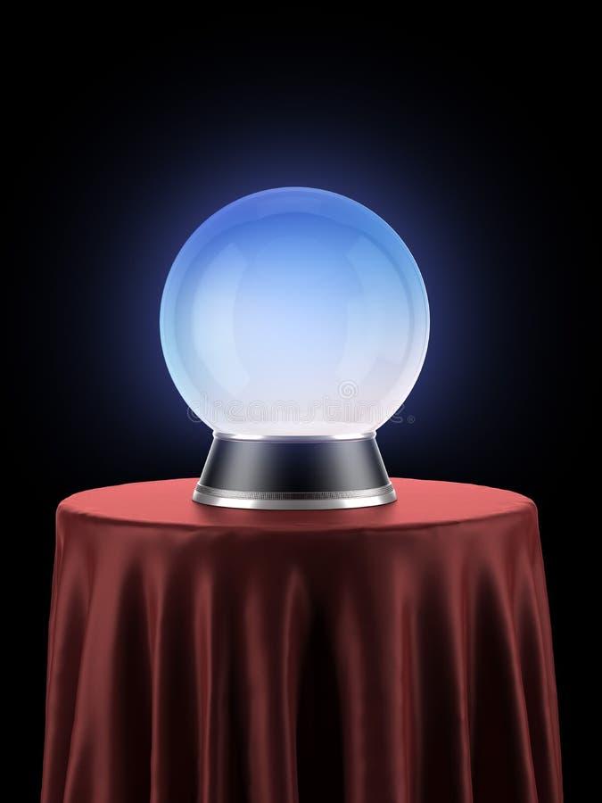 Magische Kugel auf der Tabelle bedeckt mit rotem Stoff vektor abbildung