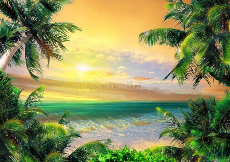 Magische kust in de avond vector illustratie