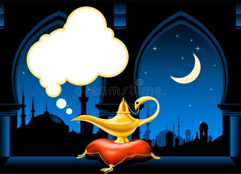 Magische lamp en Arabische stadshorizon vector illustratie