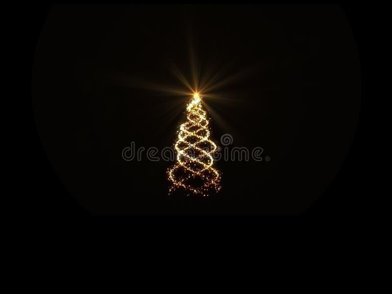Magische Lichter des Goldweihnachtsbaums auf schwarzem Hintergrund für Grußkarte vektor abbildung