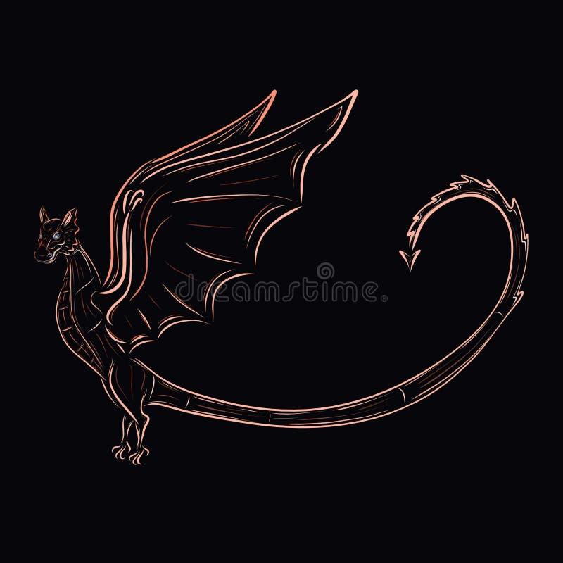 Magische majestueuze draak met een pijl op de staart, zwarte backgro royalty-vrije illustratie