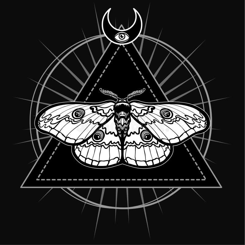 Magische mot Esoterisch symbool, heilige meetkunde royalty-vrije illustratie