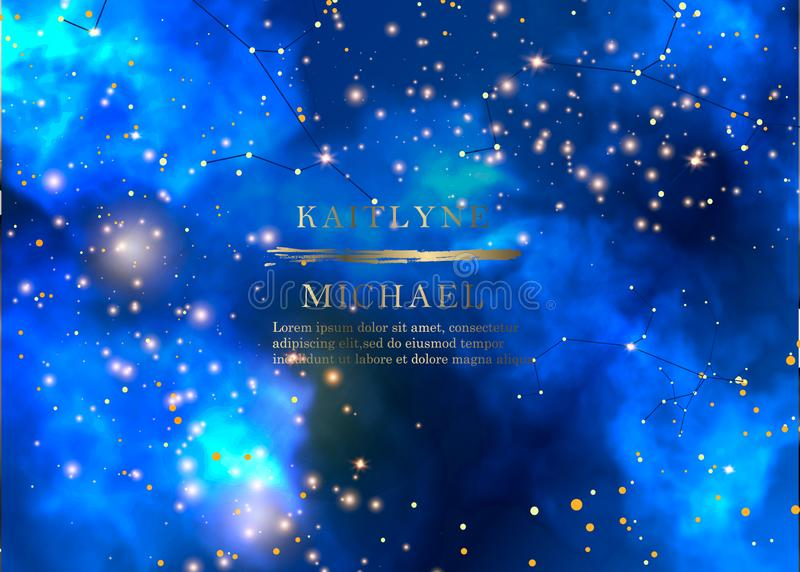 Magische nacht donkerblauwe hemel met het fonkelen uitnodiging van het sterren de vectorhuwelijk Andromeda Galaxy Het goud schitt stock illustratie