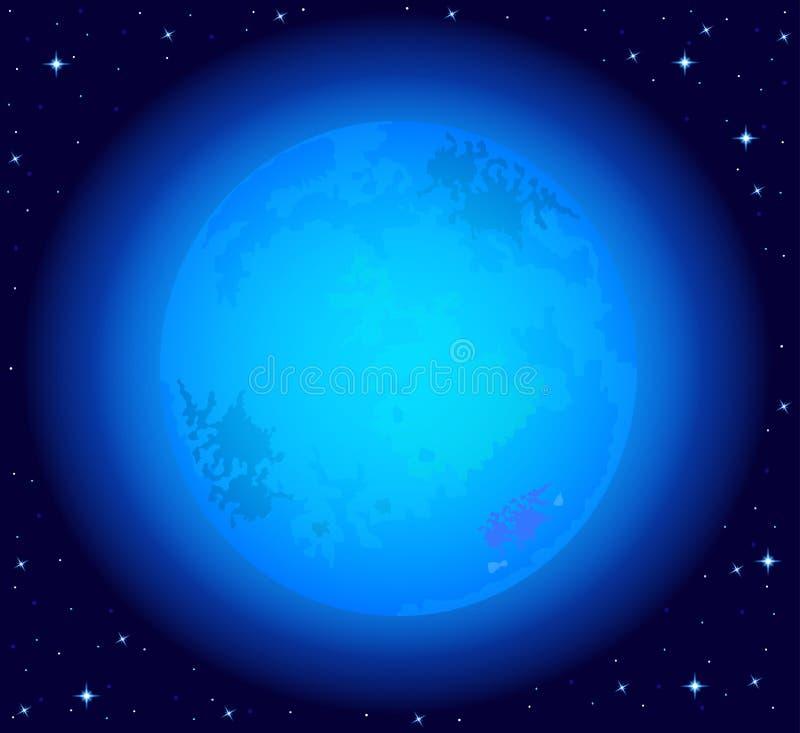 Magische nachthemel met een volledige blauwe maan stock illustratie