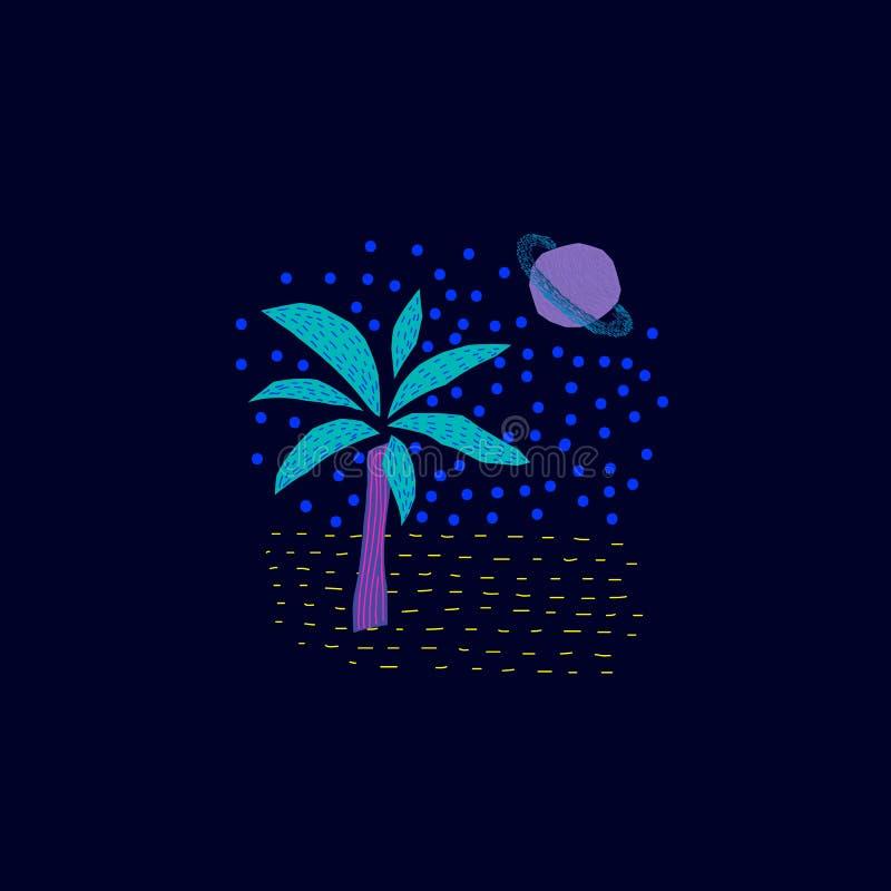 Magische Natur-Palme-Raum-Planeten-Sternkarte stock abbildung