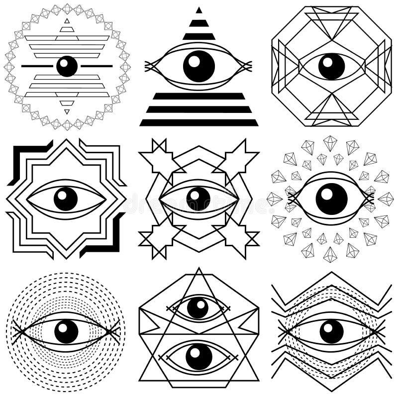 Magische ogen Reeks abstracte geometrische samenstellingen vector illustratie