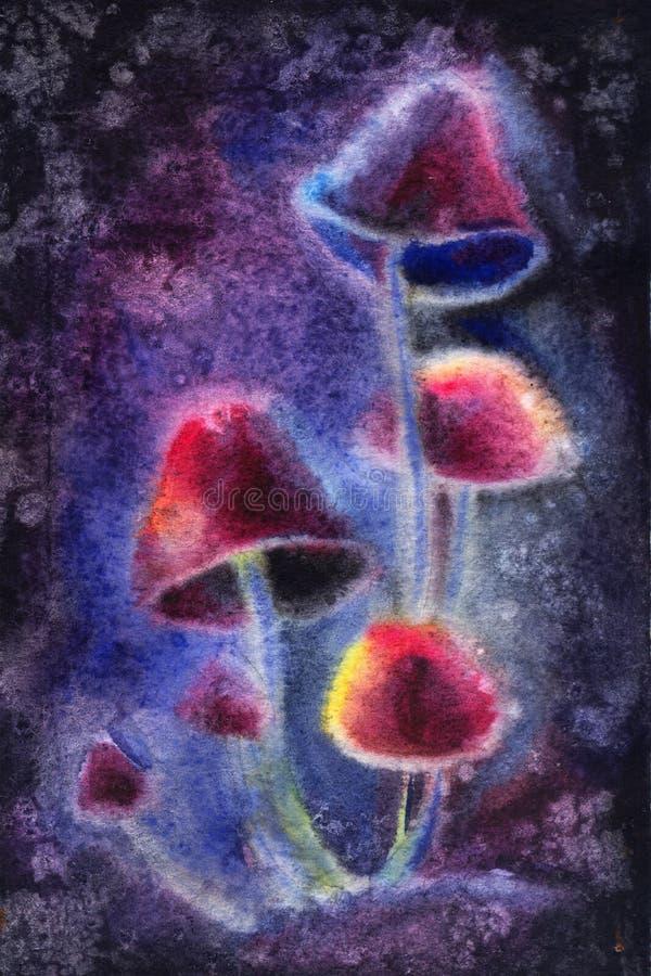 Magische paddestoelen op donkere achtergrond vector illustratie