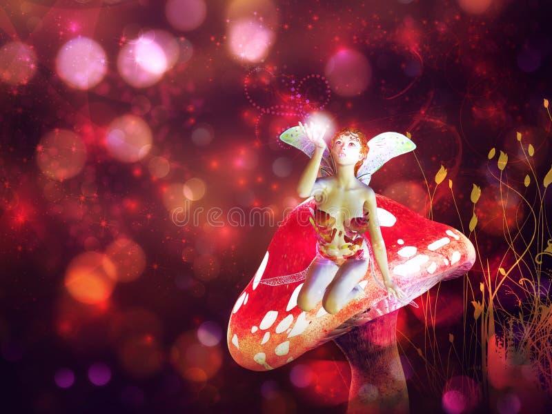Magische paddestoelfee stock illustratie