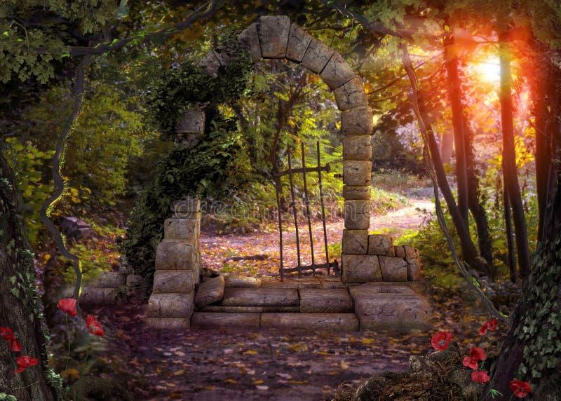 Magische Poortfantasie Forest Path royalty-vrije stock afbeelding