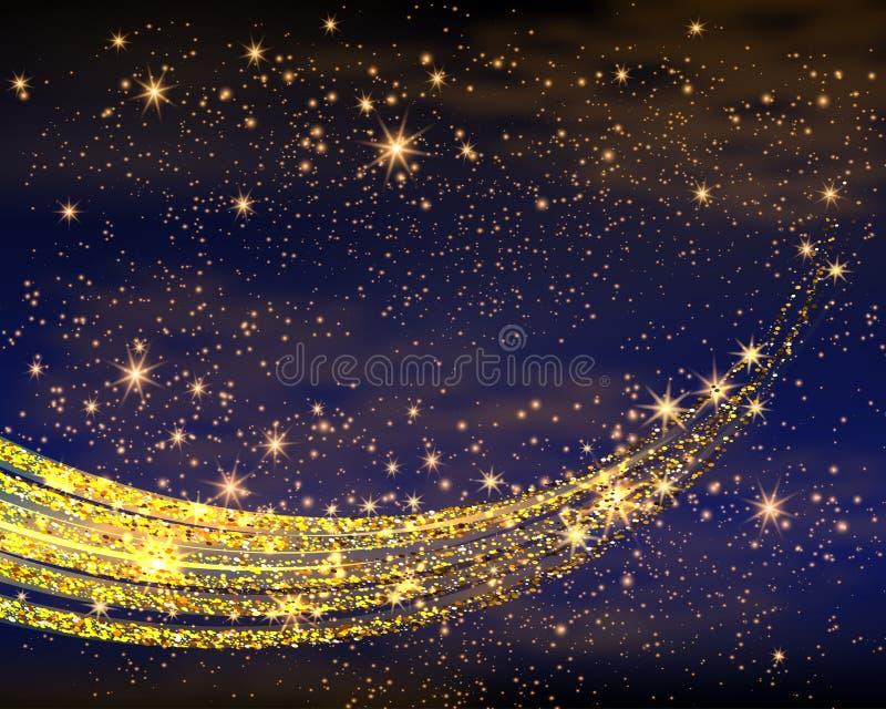 Magische Ruimte De Oneindigheid van het feestof Abstracte heelalachtergrond Blauwe Gog en Glanzende Sterren Vector illustratie vector illustratie