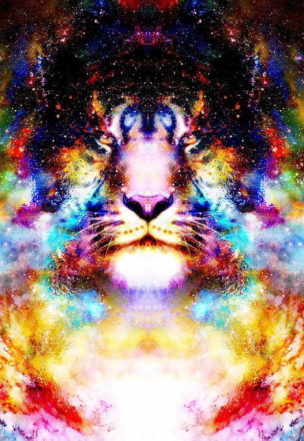 Magische ruimtetijger, veelkleurige computer grafische collage vector illustratie