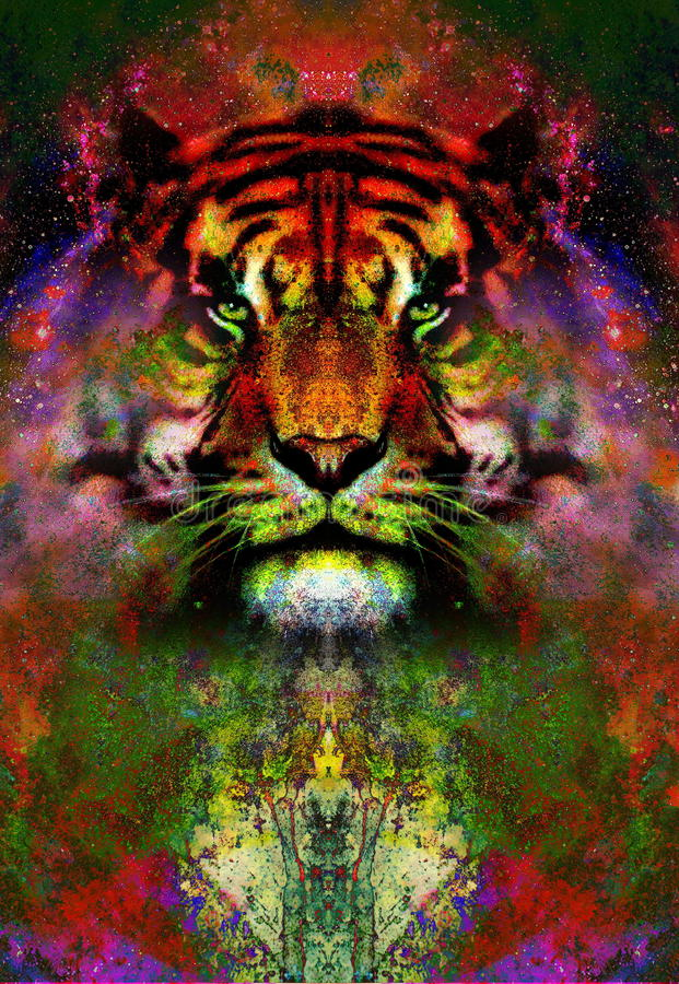 Magische ruimtetijger, veelkleurige computer grafische collage Ruimtebrand royalty-vrije illustratie