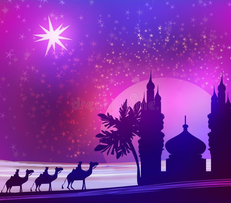 Magische scène drie en glanzende ster van Bethlehem vector illustratie