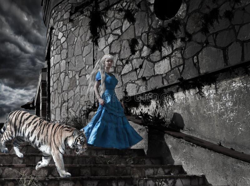 Magische scène fantastische prinses van sprookje met een tijger op oude torenstappen stock foto's
