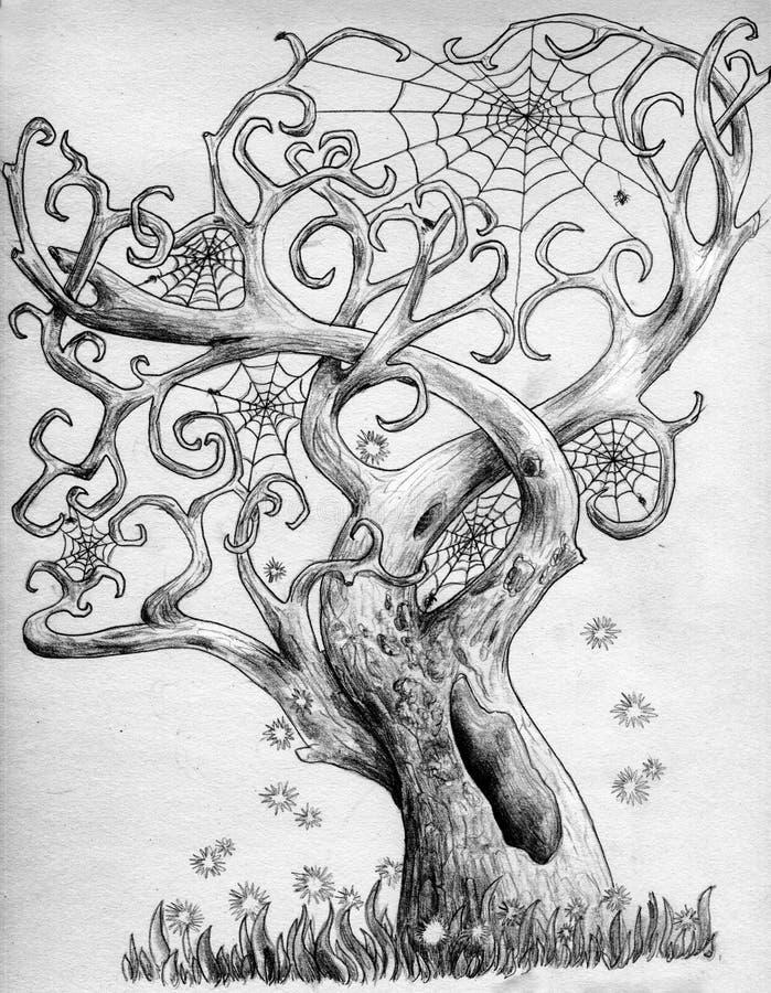 Magische spinboom royalty-vrije illustratie