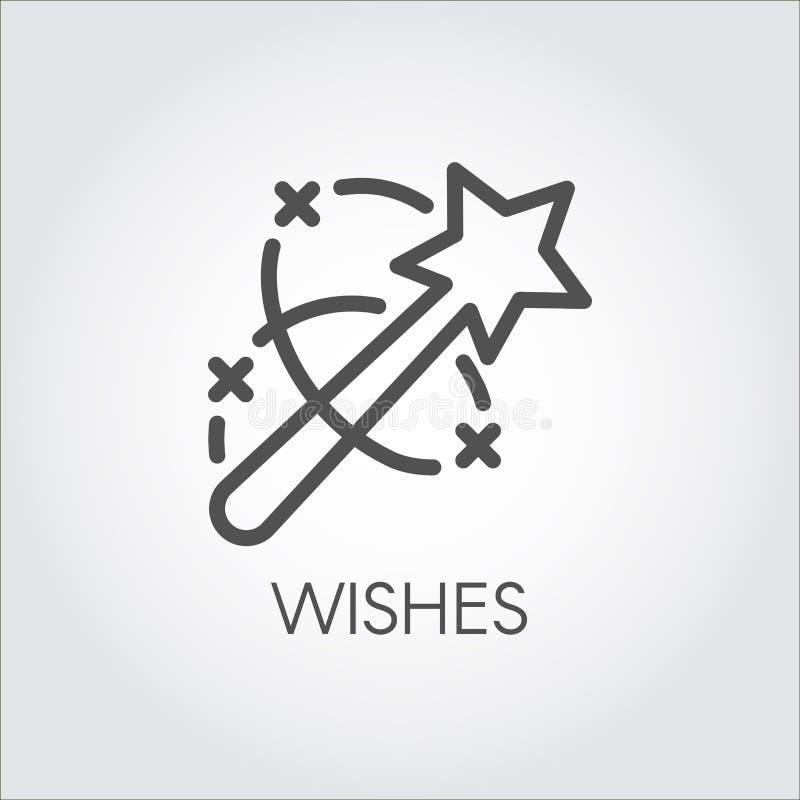 Magische Stabsikone Flacher einfacher Aufkleber gezeichnet in Linie Kunstart Einfaches Logo oder Knopf Vektorkonturnbilddagramm lizenzfreie abbildung