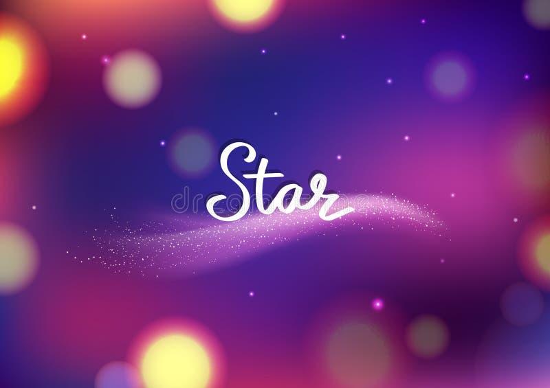 Magische Sternphantasie funkeln undeutlicher abstrakter Hintergrund Bokeh, Kometen reisendes violettes Galaxie- und Raumgrußkarte lizenzfreie abbildung