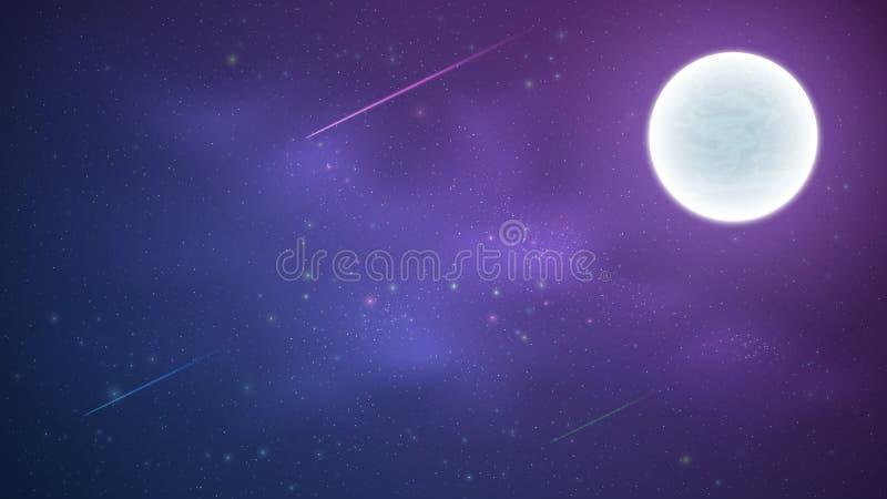 Magische Sterrige Hemel met een lichtgevende blauwe en purpere melkachtige manier Shooting Stars Volle maan Dalende kometen Glanz royalty-vrije stock afbeeldingen