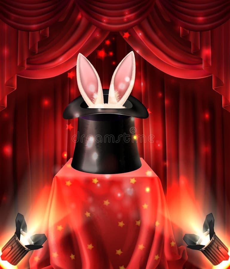 Magische trucs met konijn 3d realistische vector stock illustratie