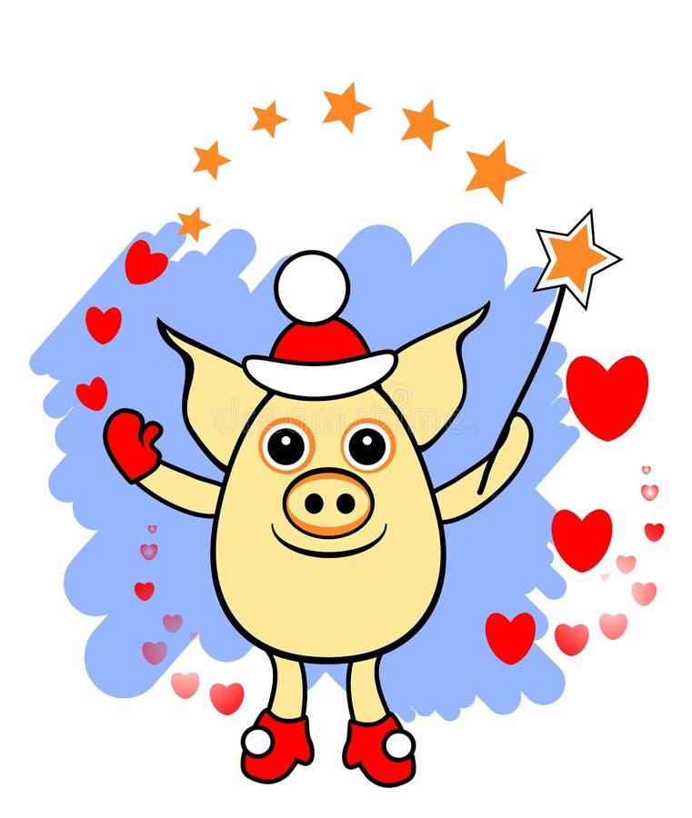 Magische varkenssanta, het grappige varken met toverstokje en de harten, scheiden op transparante achtergrond, vakantieillustrati royalty-vrije illustratie