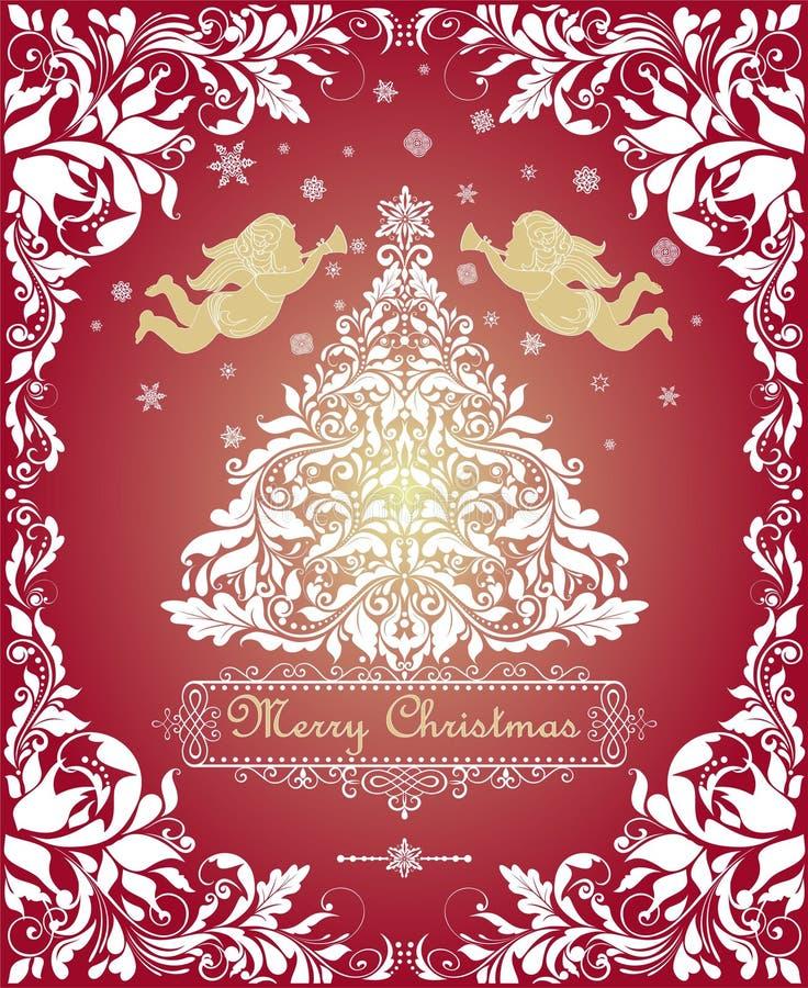 Magische Weinlese Weihnachtsgrußkarte mit herausgeschnittenem Blumenweihnachtsweißem Baum, Goldengeln und dekorativem Blumenrahme stock abbildung