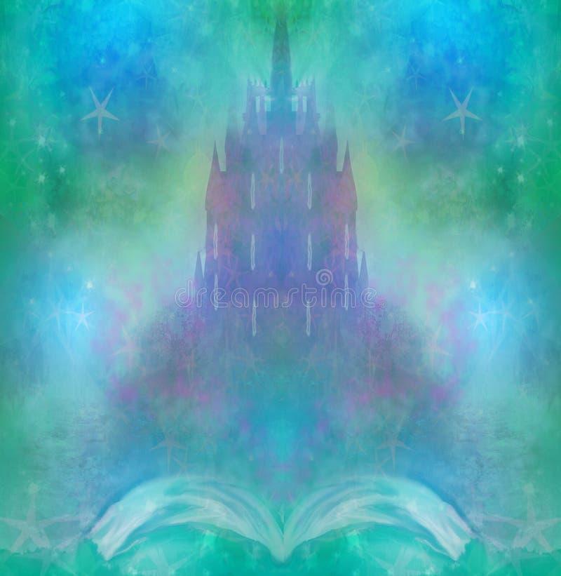 Magische Welt von Geschichten, feenhaftes Schloss, das vom Buch erscheint stock abbildung