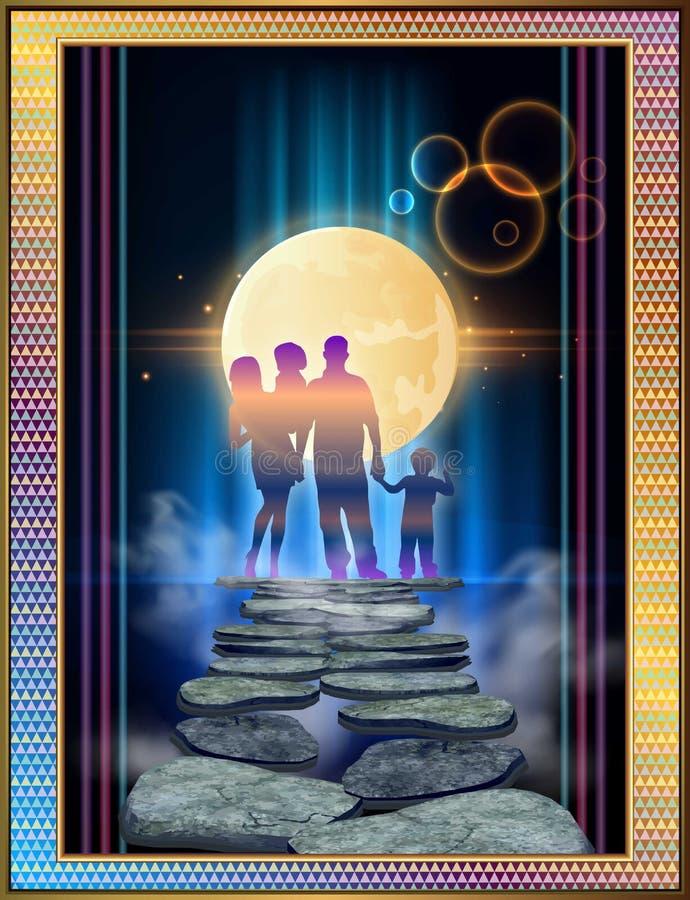Magische werelden van familiegeluk stock illustratie