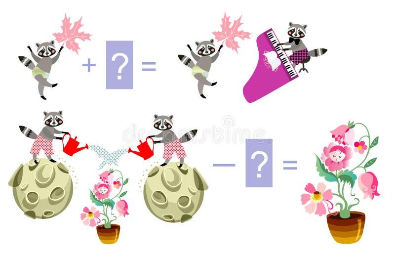 Magische wiskunde met leuke wasberen Onderwijsspel voor kinderen stock illustratie