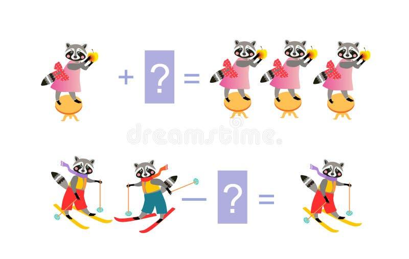 Magische wiskunde met leuke wasberen Onderwijsspel voor kinderen vector illustratie