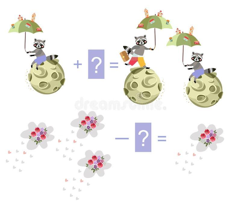 Magische wiskunde met leuke wasberen Onderwijsspel voor kinderen royalty-vrije illustratie