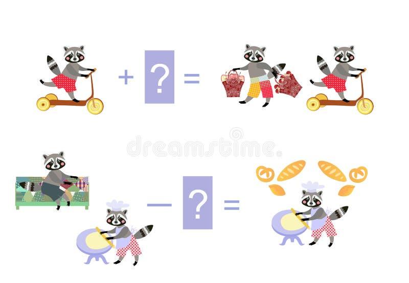 Magische wiskunde met leuke wasberen Onderwijsspel voor kinderen Ca stock illustratie