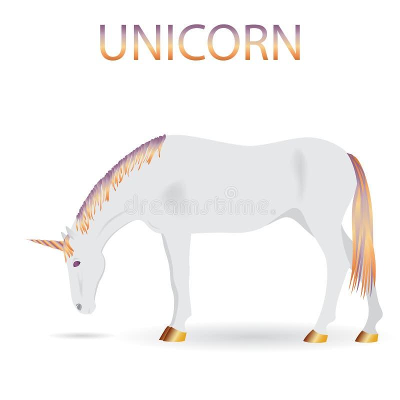 Magische witte Eenhoorn met multicolored manen, staart en hoorn Vecto vector illustratie