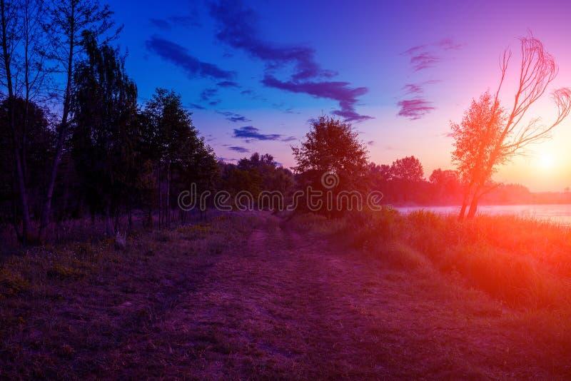 Magische zonsopgang in counrtyside stock afbeelding