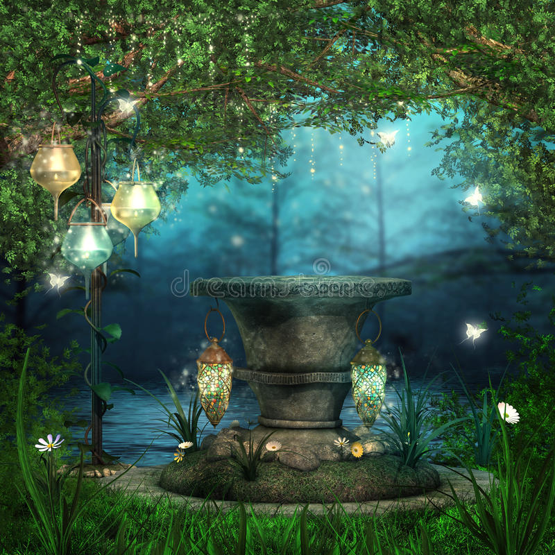 Magischer Altar mit Laternen stock abbildung