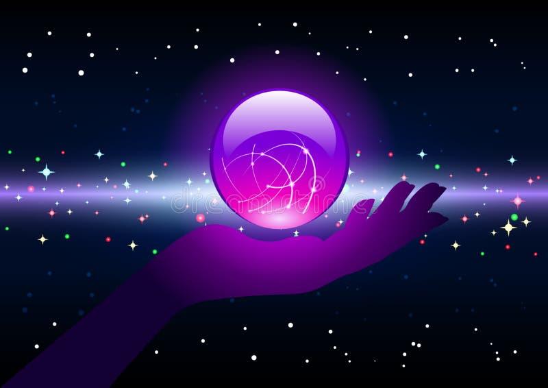 Magischer Ball auf der Palme stock abbildung